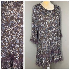 Paisley Vine Floral Purple Chic Country Lace Dress